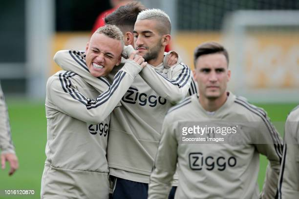 Noa Lang of Ajax Hakim Ziyech of Ajax during the Training Ajax at the De Toekomst on August 13 2018 in Amsterdam Netherlands