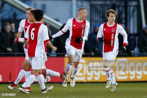 Noa Lang of Ajax U19 celebrates 22 during the match between Ajax U19 v Feyenoord U19 at the De Toekomst on February 16 2018 in Amsterdam Netherlands