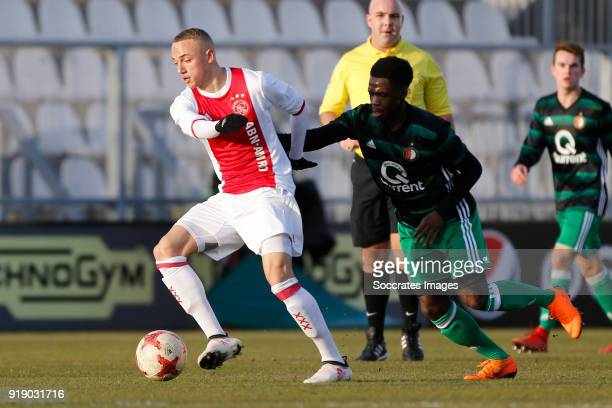 Noa Lang of Ajax U19 Cheick Tourev of Feyenoord U19 during the match between Ajax U19 v Feyenoord U19 at the De Toekomst on February 16 2018 in...