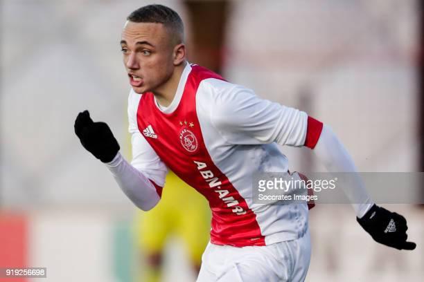 Noa Lang of Ajax U19 during the match between Ajax U19 v Feyenoord U19 at the De Toekomst on February 16 2018 in Amsterdam Netherlands