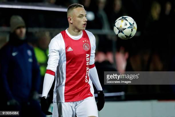 Noa Lang of Ajax U19 during the match between Ajax U19 v Paris Saint Germain U19 at the De Toekomst on February 6 2018 in Amsterdam Netherlands