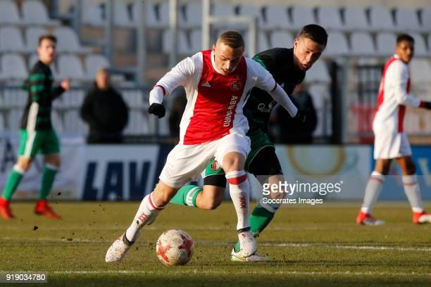 Noa Lang of Ajax U19 Jordy Wehrmann of Feyenoord U19 during the match between Ajax U19 v Feyenoord U19 at the De Toekomst on February 16 2018 in...