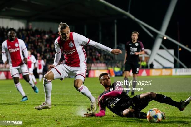 Noa Lang of Ajax U23, Tommy St Jago of FC Utrecht U23 during the Dutch Keuken Kampioen Divisie match between Ajax U23 v Utrecht U23 at the De...