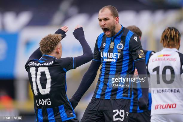 Noa Lang of Club Brugge, Bas Dost of Club Brugge celebrating his goal during the Pro League match between Club Brugge and KRC Genk at Jan...