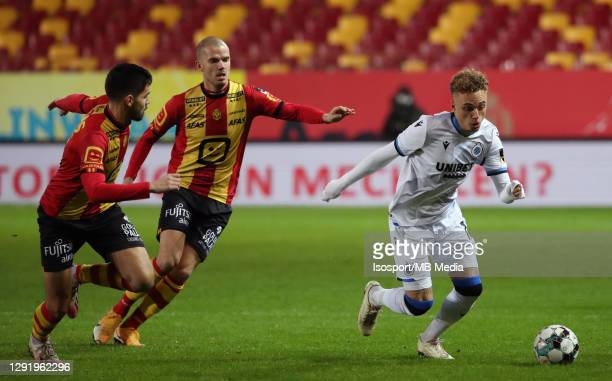 Noa Lang of Club Brugge battles for the ball with Sandy Walsh of KV Mechelen and Geoffry Hairemans of KV Mechelen during the Jupiler Pro League match...