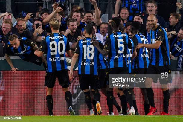Noa Lang of Club Brugge celebrates after scoring his sides second goal with Charles De Ketelaere of Club Brugge, Federico Ricca of Club Brugge,...