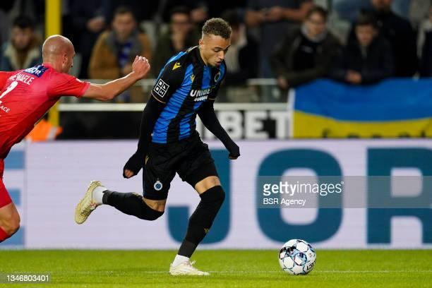 Noa Lang of Club Brugge during the Jupiler Pro League match between Club Brugge and KV Kortrijk at Jan Breydelstadion on October 15, 2021 in Brugge,...
