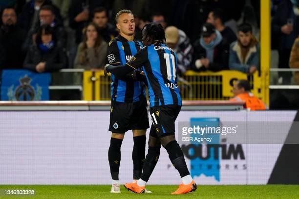Noa Lang of Club Brugge, Faitout Maouassa of Club Brugge during the Jupiler Pro League match between Club Brugge and KV Kortrijk at Jan...