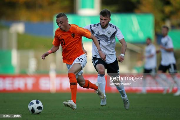Noa Lang of Netherlands U20 and Manuel Wintzheimer of Germany U20 battle for the ball during the international friendly match between Germany U20 and...