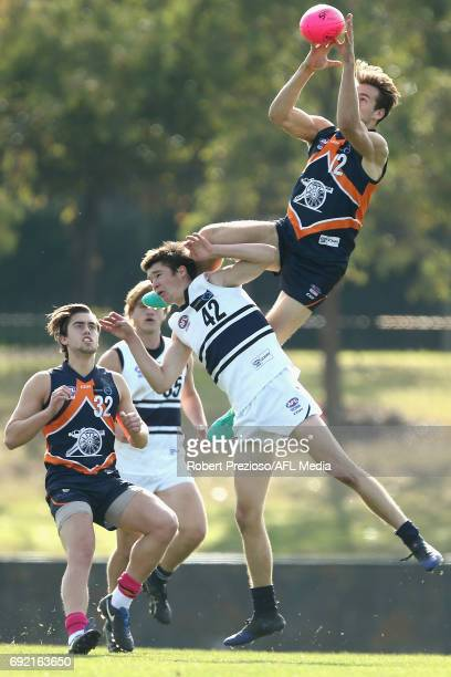 Noah Balta of Calder Cannons takes a mark during the round nine TAC Cup match between the Calder Cannons and the Northern Knights at Rams Arena on...