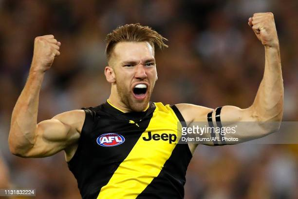 Noah Balta of the Tigers celebrates a goal during the 2019 AFL round 01 match between the Carlton Blues and the Richmond Tigers at the Melbourne...