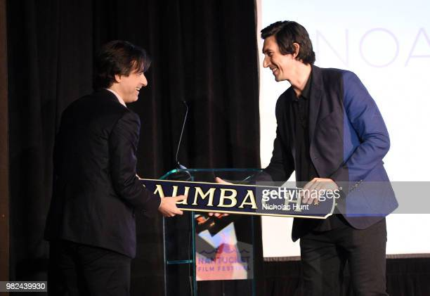 Noah Baumbach accepts an award from Adam Driver onstage during the Screenwriters Tribute at the 2018 Nantucket Film Festival Day 4 on June 23 2018 in...
