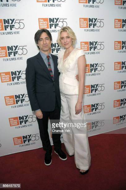 Noah Baumbach and Greta Gerwig attend Meyerowitz Stories screening during the 55th New York Film Festival at Alice Tully Hall on October 1 2017 in...