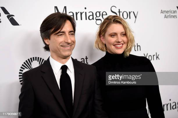Noah Baumbach and Greta Gerwig attend the Marriage Story premiere at 57th New York Film Festival on October 04 2019 in New York City