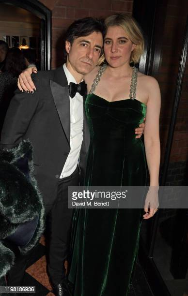 Noah Baumbach and Greta Gerwig pose the Netflix BAFTA after party at Chiltern Firehouse on February 2 2020 in London England