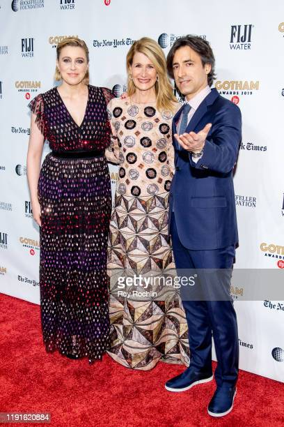 Noah Baumbach, Laura Dern and Greta Gerwig attend the 2019 IFP Gotham Awards at Cipriani Wall Street on December 02, 2019 in New York City.