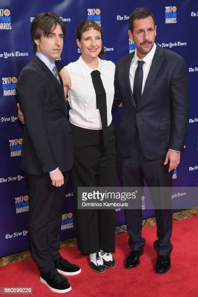 Noah Baumbach Rebecca Miller and Adam Sandler attend IFP's 27th Annual Gotham Independent Film Awards on November 27 2017 in New York City