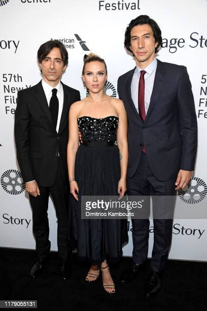 Noah Baumbach Scarlett Johansson and Adam Driver attend the Marriage Story premiere at 57th New York Film Festival on October 04 2019 in New York City