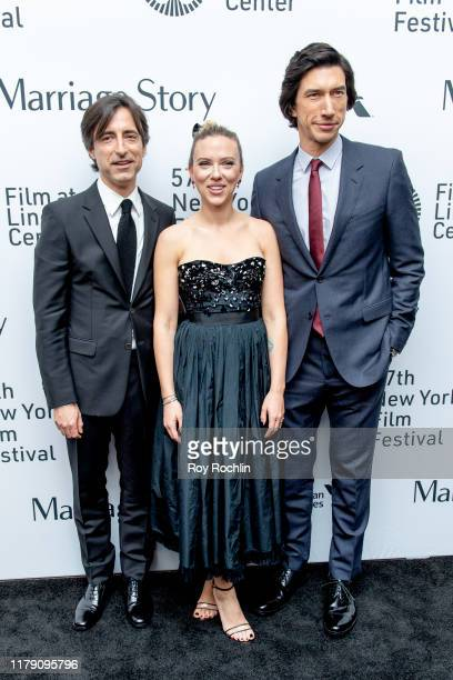 Noah Baumbach Scarlett Johansson and Adam Driver attend the Marriage Story premiere at the 57th New York Film Festival on October 04 2019 in New York...