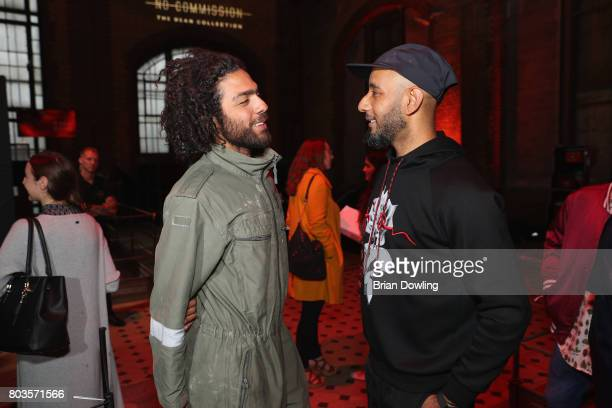 Noah Becker and Swizz Beatz pose at Bacardi X The Dean Collection Present No Commission Berlin on June 29 2017 in Berlin Germany
