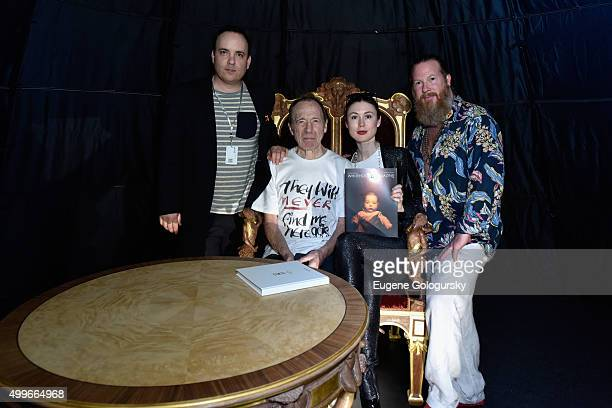 LR0 Noah Becker Anthony HadenGuest Emerald Gruin and Gregory de la Haba attend the OMAR'S and MAISON MONTAIGNE PARIS Host Enchanted Hours at...