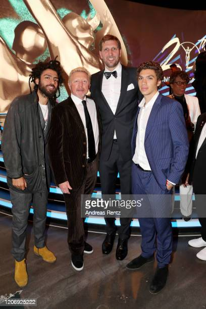 Noah Becker Laureus Academy member Boris Becker Laureus Lifetime Achievement Award winner German basketball player Dirk Nowitzki and Elias Becker...