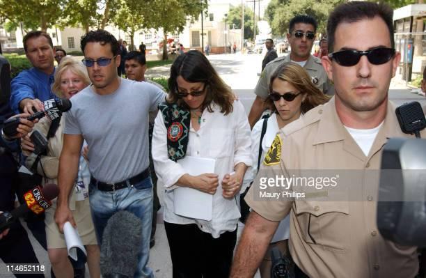 Noah Blake Noreen Austin and Delinah Blake leaving Van Nuys West Courthouse