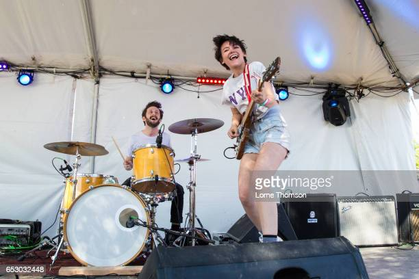 Noah Bowman and Alex Luciano of Diet Cig perform at the 6th annual Strange Brew party during SXSW at Hotel Vegas on March 13 2017 in Austin Texas