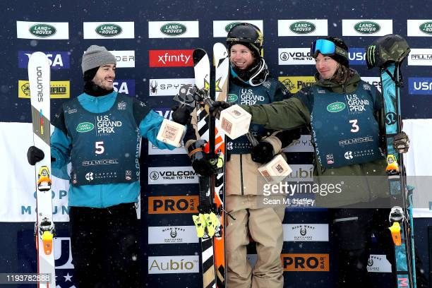 Noah Bowman of Canada third place, Aaron Blunck of the United States first place and David Wise of the United States second place celebrate on the...