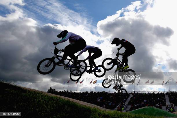 Noah Breschan of Switzerland and Quentin Derom of France jump in Heat 2 of the Men's Eighth Finals during the BMX on Day Ten of the European...