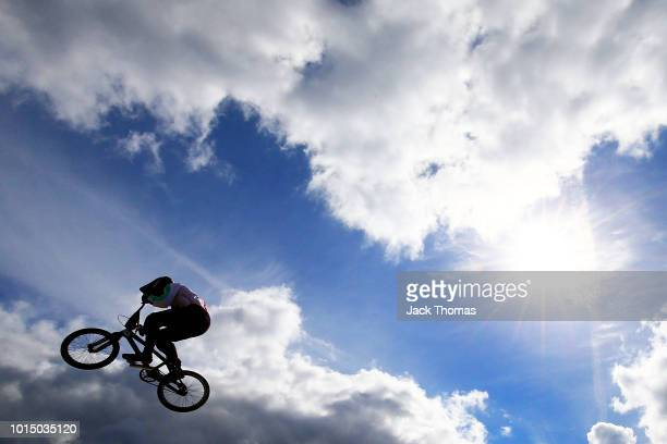 Noah Breschan of Switzerland competes in Heat 3 of the Men's Quarterfinal during the BMX on Day Ten of the European Championships Glasgow 2018 at on...