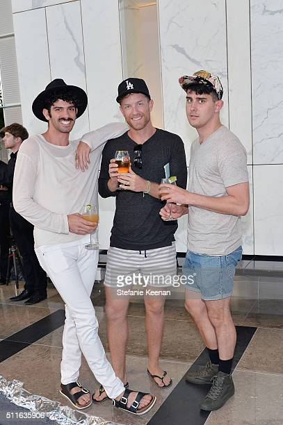 Noah Champion Cody Vivian and Joel Buck attend Visionaire FREE in Partnership with Stella Artois at CAA on February 21 2016 in Los Angeles California