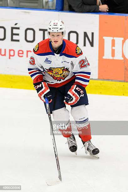 Noah Corson of the Moncton Wildcats skates during the warmup prior to the QMJHL game against the Blainville-Boisbriand Armada at the Centre...