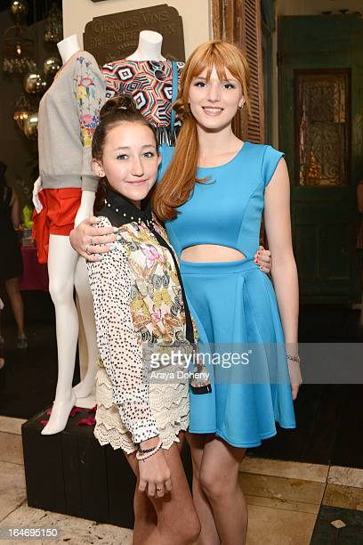 Noah Cyrus and Bella Thorne attend Boohoo's Summer 2013 Press Day at SUR Lounge on March 26 2013 in Los Angeles California