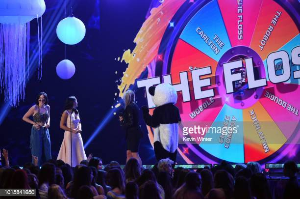 Noah Cyrus and Camila Mendes present the Choice Comedy Movie Actress for 'Pitch Perfect 3' to Anna Kendrick onstage during FOX's Teen Choice Awards...