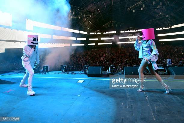 Noah Cyrus performs with Marshmello at the Sahara Tent during day 3 of the Coachella Valley Music And Arts Festival at the Empire Polo Club on April...