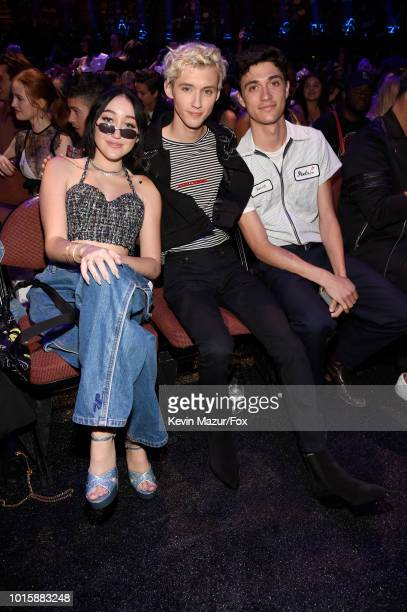 Noah Cyrus Troye Sivan and Jacob Bixenman attend FOX's Teen Choice Awards at The Forum on August 12 2018 in Inglewood California