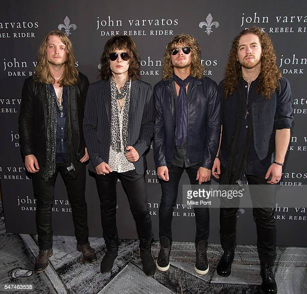 Noah Denney Tyler Bryant Caleb Crosby and Graham Whitford of the band Tyler Bryant and the Shakedown attend the John Varvatos Spring/Summer 2017...