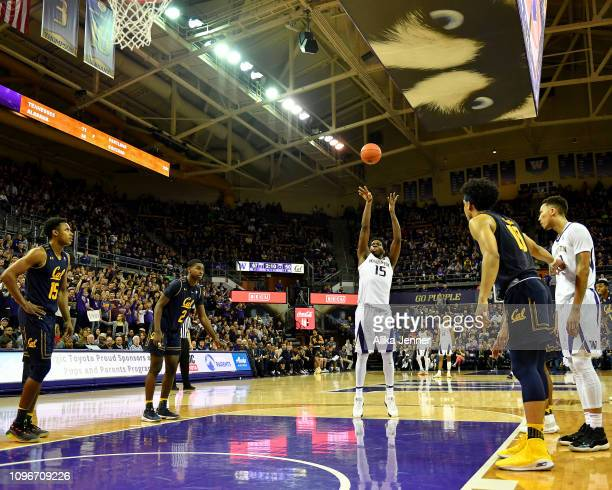 Noah Dickerson of the Washington Huskies shoots a free throw against the California Golden Bears at Hec Edmundson Pavilion on January 19 2019 in...