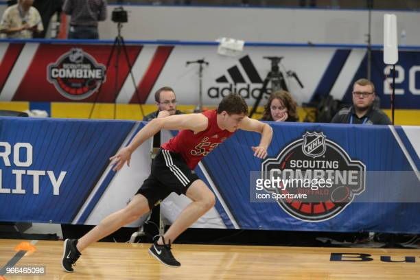 Noah Dobson completes the pro agility test during the NHL Scouting Combine on June 2 2018 at HarborCenter in Buffalo New York