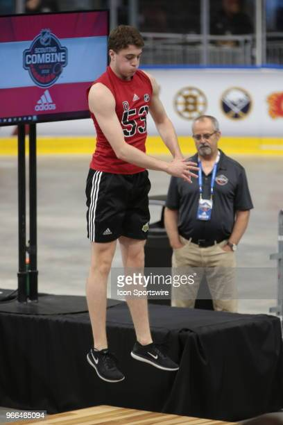 Noah Dobson completes the standing jump test during the NHL Scouting Combine on June 2 2018 at HarborCenter in Buffalo New York