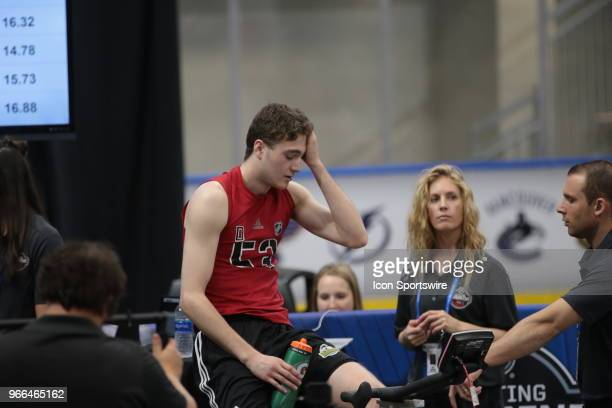 Noah Dobson completes the Wingate cycle test during the NHL Scouting Combine on June 2 2018 at HarborCenter in Buffalo New York