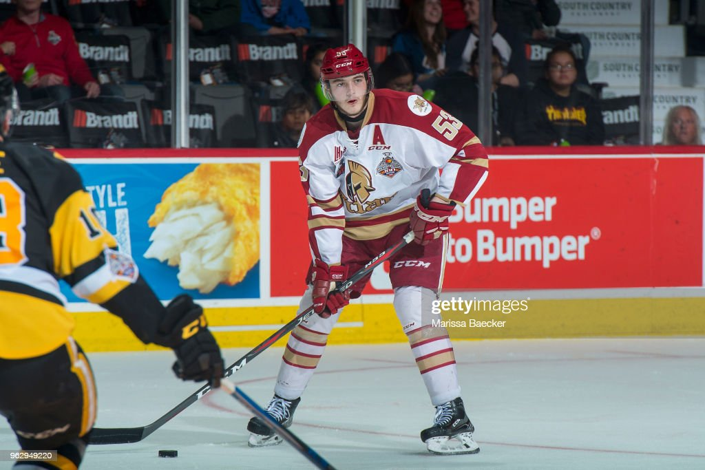Noah Dobson #53 of Acadie-Bathurst Titan looks for the pass against the Hamilton Bulldogs at Brandt Centre - Evraz Place on May 22, 2018 in Regina, Canada.
