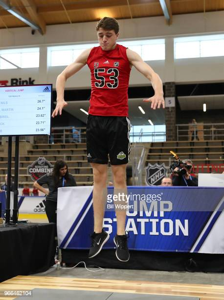 Noah Dobson performs at the jump station during the NHL Scouting Combine on June 2 2018 at HarborCenter in Buffalo New York