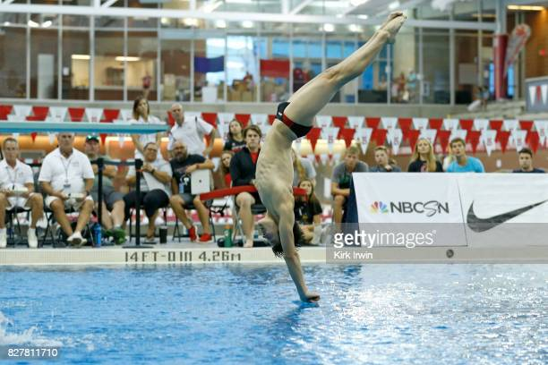 Noah Duperre of the Ohio State Diving Club enters the water during the Senior Men's 1m Final during the 2017 USA Diving Summer National Championships...