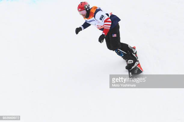 Noah Elliott of the United States competes in the Snowboard Men's Banked Slalom SBLL1 Run 1 on day seven of the PyeongChang 2018 Paralympic Games on...