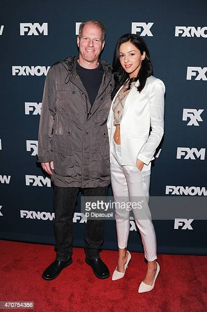 Noah Emmerich and Annet Mahendru attend the 2015 FX Bowling Party at Lucky Strike on April 22 2015 in New York City