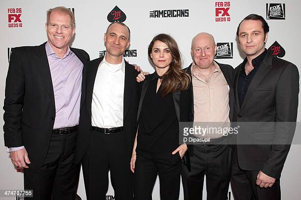 Noah Emmerich executive producer Joel Fields Keri Russell creator/executive producer Joe Weisberg and Matthew Rhys attend 'The Americans' season two...
