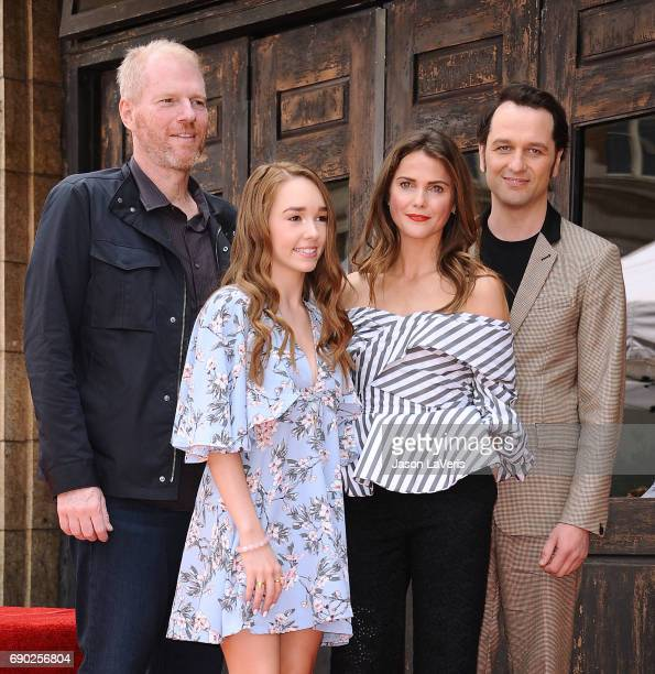 Noah Emmerich Holly Taylor Keri Russell and Matthew Rhys attend Russell's induction into the Hollywood Walk of Fame on May 30 2017 in Hollywood...