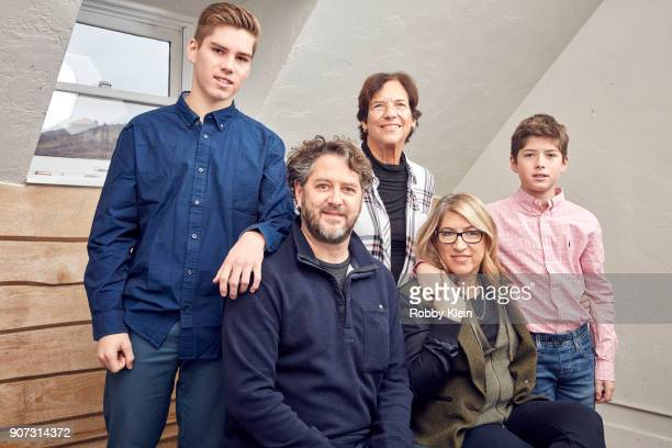 Noah Evers Producer Frank Evers Patricia Greenfield Director Lauren Greenfield and Gabriel Evers from the film 'Generation Wealth' pose for a...